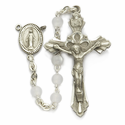 4mm Mother of Pearl Beads and Miraculous Center Rosary