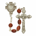 5mm Brown Coco Beads and Miraculous Cross Shaped Center Rosary