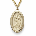 "14K Gold Over Sterling Silver Oval St. Christopher Medal on 24"" Chain"