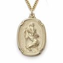 "14K Gold Over Sterling Silver Shield St. Christopher Medal on 24"" Chain"