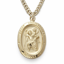 "14K Gold Over Sterling Silver Oval St. Christopher Medal on 18"" Chain"