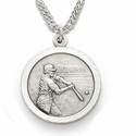 "Sterling Silver Boy's Baseball Medal, St. Christopher on Back, 20"" Chain"