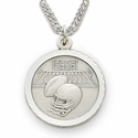 "Sterling Silver Boy's Football Medal, St. Christopher on Back on 20"" Chain"