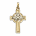 "1 & 1/8"" 14K Gold Cross Pendant in a Celtic Claddagh Design"