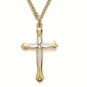 "14K Gold Over Sterling Silver Cross Necklace in a Two Tone and Budded Ends Design  on 18"" Chain"