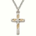 Sterling Silver Cross Necklace in a 2-Tone and Engraved Design