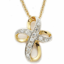 "14K Gold Over Sterling Silver Cross Necklace with Crystal CZ Stones on 18"" Chain"