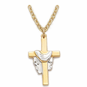"Sterling Silver 14K Gold Finish Cross with Silver Draped Rope on 18"" chain"