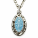 "Sterling Silver Blue Enameled Baby  Miraculous Medal on 13"" Chain"