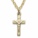 "Sterling Silver 14K Gold Finish Baby Crucifix on 13"" Chain"
