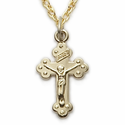 "14K Gold Finish Over Sterling Silver  Baby Crucifix on 13"" Chain"