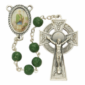 7mm Shamrock Beads and St. Patrick  Photo Center Rosary