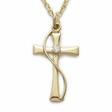 "14K Gold Plated Sterling Silver Cross Necklace with Diamond-Like CZ Stone On 18"" Chain"