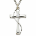 "Sterling Silver Cross Necklace with Crystal CZ Stone on 18"" Chain"