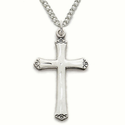 "Sterling Silver Cross Necklace in a Flared Engraved Design on 18"" Chain"