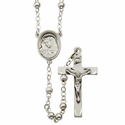 5mm Sterling Silver Rosary Beads Necklace with Miraculous Center and  Crucifix