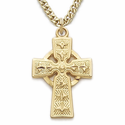 "14K Gold Over Sterling Silver Celtic Cross Necklace on 18"" Chain"