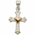 Sterling Silver Budded Cross with 14K Gold Heart