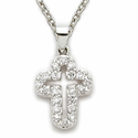"Sterling Silver Cross Necklace with Crystal CZ Stones on 18"" Chain"