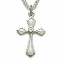 Sterling Silver Cross Necklace in a Flared Design w/ Crystal CZ Stone