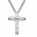 "Sterling Silver Cross Necklace with  CZ Stones on 18"" Chain"