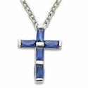 "Sterling Silver Cross Necklace in a Sapphire Design  with CZ Stone on 16"" Chain"