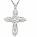 "Sterling Silver Cross Necklace in a Filagree Design with Crystal CZ Stones on 18"" Chain"