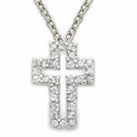 Sterling Silver Cross Necklace in a Pierced Design with Crystal  CZ  Stones