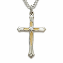 "Sterling Silver Cross Necklace in a 2-Tone Centered CZ Stone Budded Ends Design on 18"" Chain"