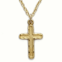 14K Gold Filled Cross Necklace in an Engraved Border Design