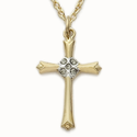 "Sterling Silver 14K Gold Plated Cross Necklace with  Crystal CZ Diamond-Like Stones on a 18"" chain"