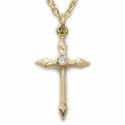 "Sterling Silver 14K Gold Finish Cross Necklace Engraved w/ Diamond-Like CZ Stone on 18"" Chain"