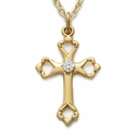 "Sterling Silver 14K Gold Finish Cross Necklace with Open Heart Ends and Diamond-Like CZ Stone on 18"" Chain"