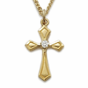 24K Gold Over Sterling Silver Cross Necklace with a Flare Design and Crystal CZ Stone