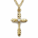 "14K Gold Over Sterling Silver Cross Necklace in a Centered CZ Stone Wheat Ends Design on 18"" Chain"