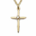 "14K Gold Over Sterling Silver Cross Necklace in a Centered CZ Stone and Pointed Ends Design on 18"" Chain"
