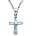 Sterling Silver Cross Necklace in a Aqua Flared Design with Crystal CZ Stone