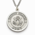 """Men's Nickel Silver Army Medal, St. Michael on Back on 24"""" Chain"""