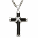 "Sterling Silver Cross Necklace in a Black Onyx Design on 18"" Chain"