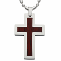Stainless Steel Cross Necklace in a Brown Wood Polished Finished and Silver Polished Edges