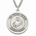 Men's Nickel Silver Marine Medal, St. Michael on Back