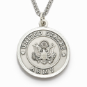 "Men's Nickel Silver Army Medal, St. Michael on Back on 24"" Chain"