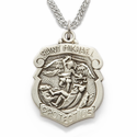 "Sterling Silver Shield St. Michael Medal, Patron of Police Officers on 20"" Chain"