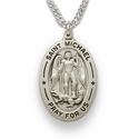 "Sterling Silver Engraved Oval St. Michael Medal on 20"" Chain"
