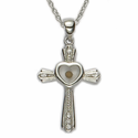 "Sterling Silver Cross Necklace with CZ Crystal Stones and a Centered Heart  Mustard Seed on 18"" Chain"