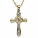 "14K Gold Over Sterling Silver Cross Necklace and CZ Crystal Stones with a Centered Heart  Mustard Seed on 18"" Chain"