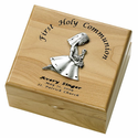 Personalized Girl  First Holy Communion Maple Wood Keepsake Box