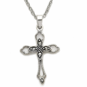"Sterling Silver Cross Necklace in a Open Ended Design with Marcasite CZ Stones on 18"" Chain"