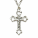 "Sterling Silver Cross Necklace  in  an Open End Design with Marcassite Stones on 18"" Chain"