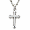 "Sterling Silver Cross Necklace with Budded Ends on 16"" Chain"